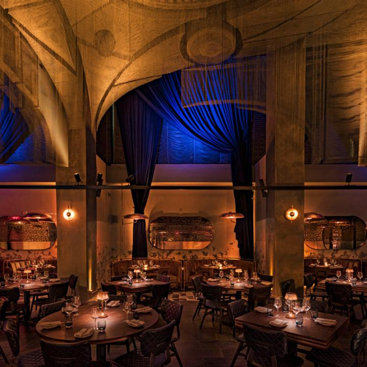 The design concept pays homage to the Fillmore East, a legendary Lower East Side concert hall.