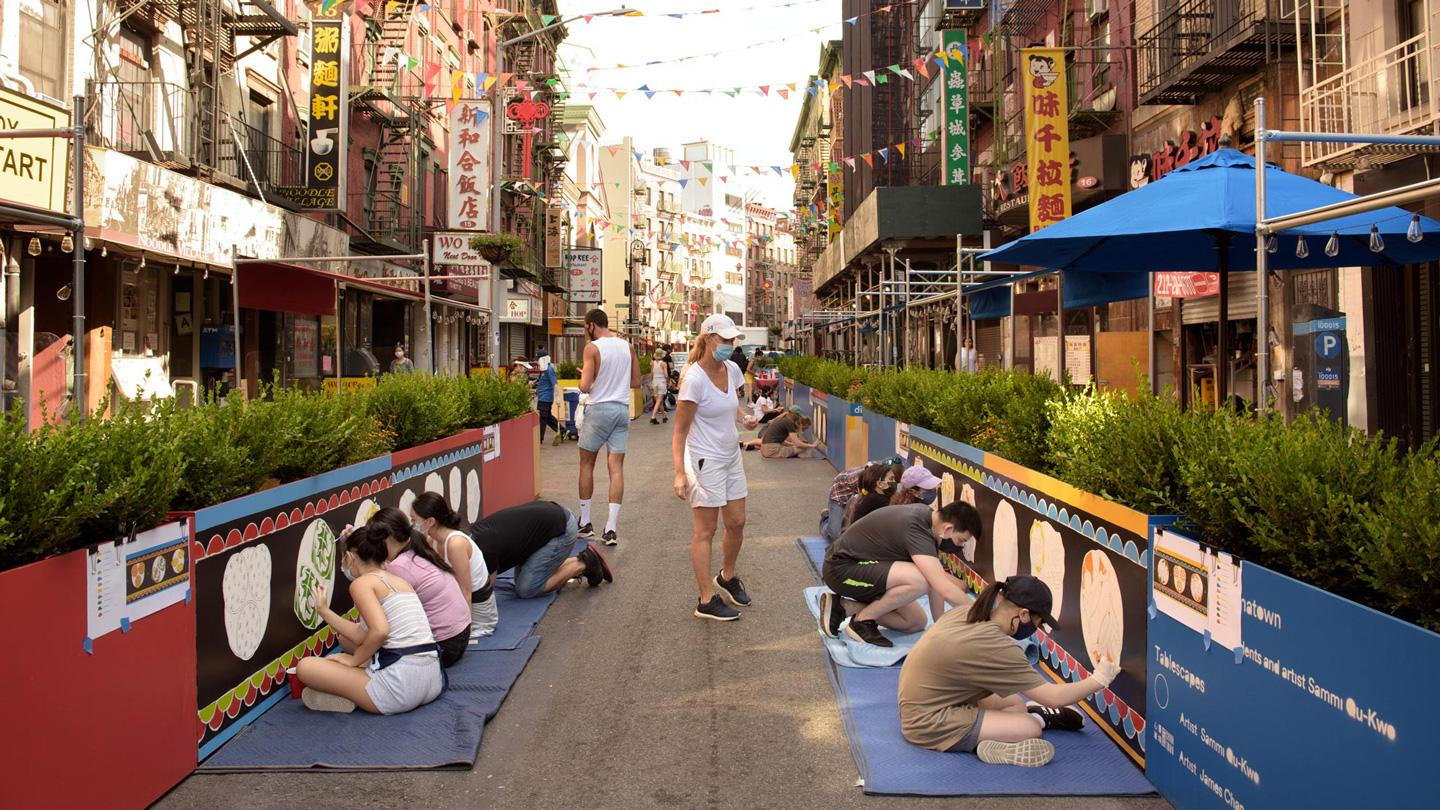 DineOut NYC, Mott Street, Chinatown, outdoor dining, Transfiguration School, student mural
