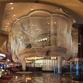 The cosmopolitan of las vegas rockwell group the chandelier bar is made of 21 miles of crystal bead swags aloadofball Gallery