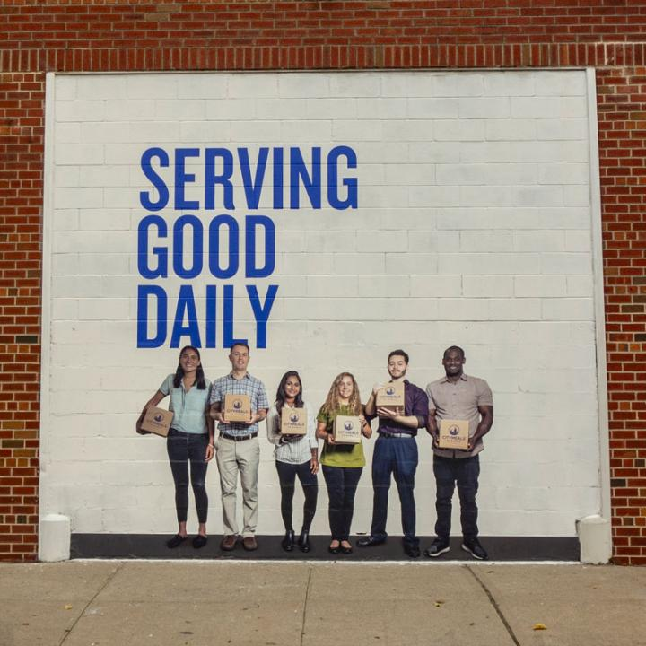 Citymeals on Wheels's new warehouse with graphics designed by Rockwell Group.
