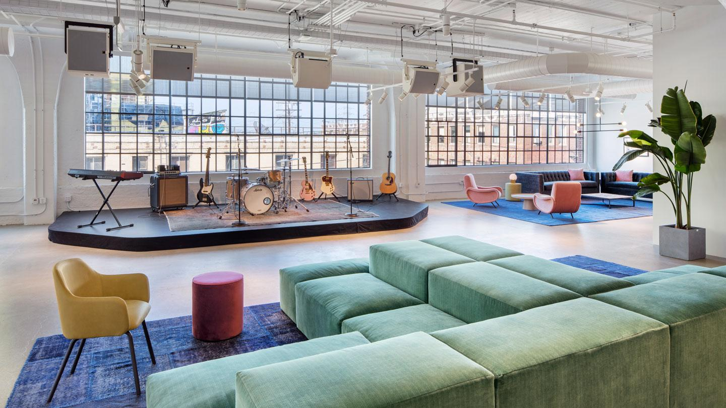 Warner Music Group's new stage and lounge designed by Rockwell Group.